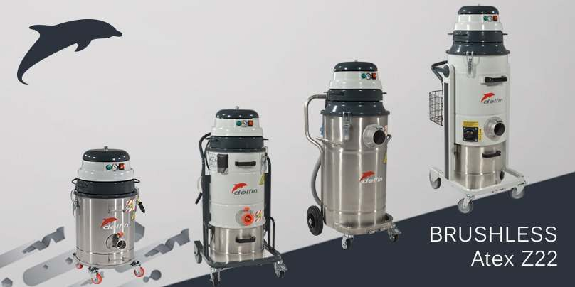 Atex z22 industrial vacuum cleaners with brushless motor