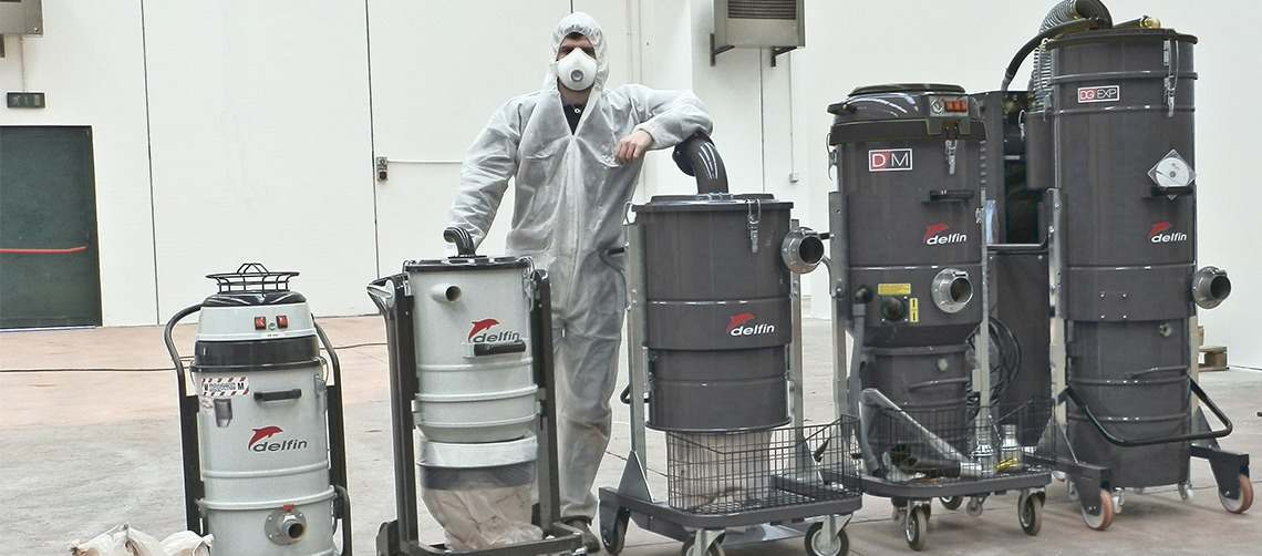Industrial vacuum cleaners for removing asbestos