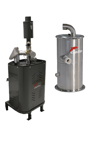 Electro-pneumatic conveyor system for transporting powders and grains over short distances - PRO280E with base