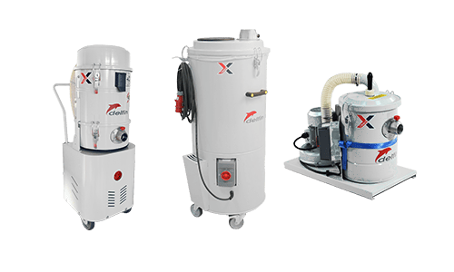 Industrial vacuum cleaners for scraps on board of machineries and packaging